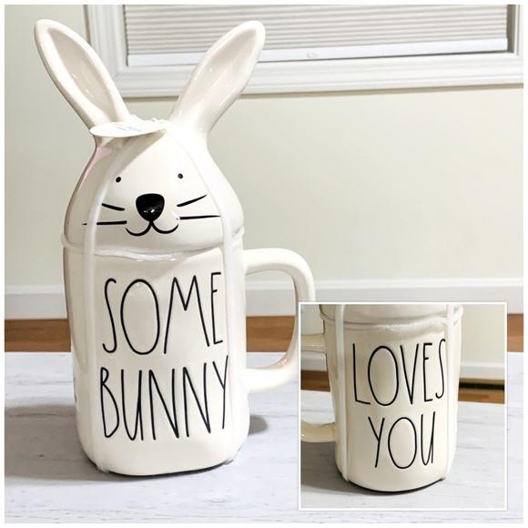 Rae Dunn Double Sided Easter Mug Bunny Figurine